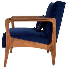 Art Deco Inspired Atena Armchair in Beech Black Ebony & Riviera Blue Velvet