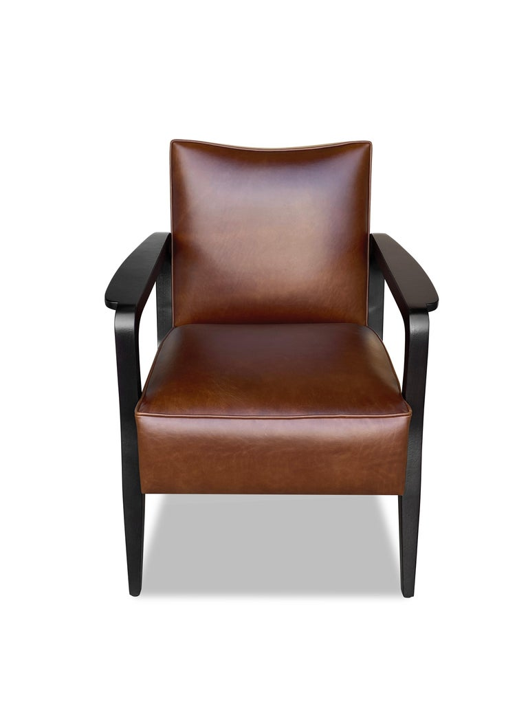British Art Deco Inspired Atena Armchair in Walnut Black Ebony and Ivory Nubuck Leather For Sale
