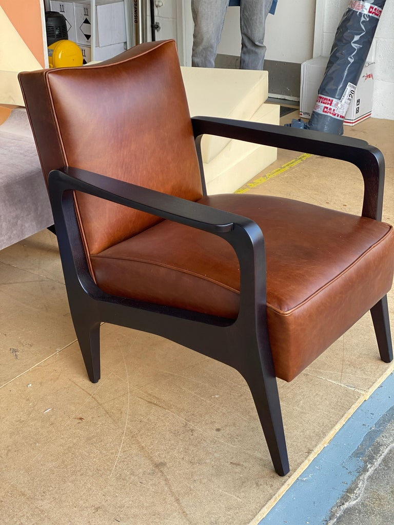 Art Deco Inspired Atena Armchair in Walnut Black Ebony and Ivory Nubuck Leather In New Condition For Sale In London, GB