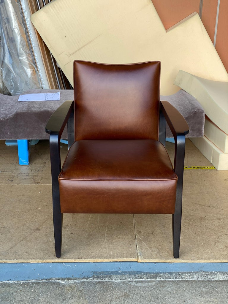 Contemporary Art Deco Inspired Atena Armchair in Walnut Black Ebony and Ivory Nubuck Leather For Sale