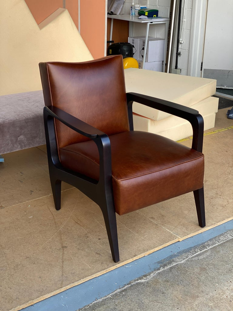 Art Deco Inspired Atena Armchair in Walnut Black Ebony and Ivory Nubuck Leather For Sale 1
