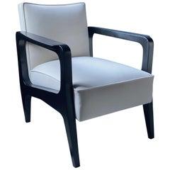 Art Deco Inspired Atena Armchair in Walnut Black Ebony and Ivory velvet