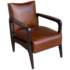 Art Deco Inspired Atena Armchair in Walnut Black Ebony and Moka Bull Leather