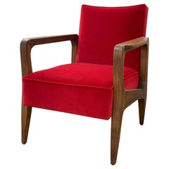 Art Deco Inspired Atena Armchair in Walnut and Opera Red Velvet