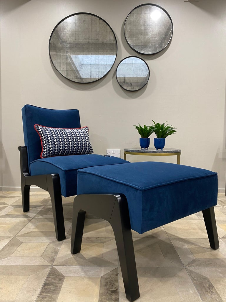 Woodwork Art Deco Inspired Atena Chair and Foot Stool, Black Ebony and Blue Notte Velvet For Sale