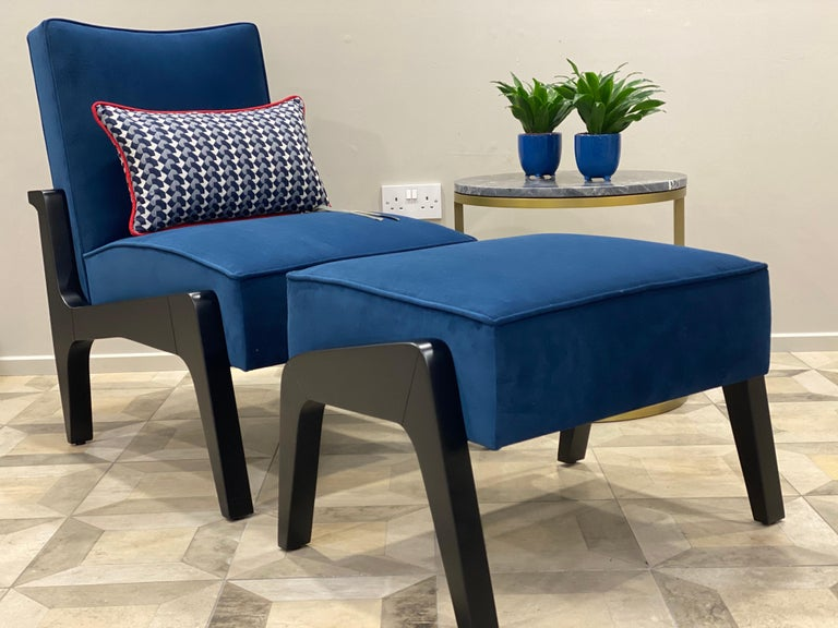 Art Deco Inspired Atena Chair and Foot Stool, Black Ebony and Blue Notte Velvet In Excellent Condition For Sale In London, GB