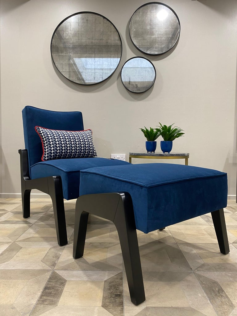 Contemporary Art Deco Inspired Atena Chair and Foot Stool, Black Ebony and Blue Notte Velvet For Sale