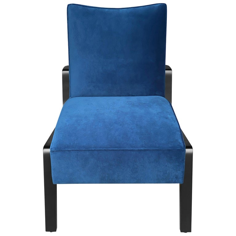 Art Deco Inspired Atena Chair and Foot Stool, Black Ebony and Blue Notte Velvet For Sale