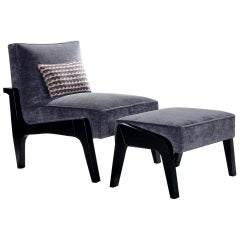 Art Deco Inspired Atena Chair and Foot Stool, Black Ebony and Grey Ribbed Velvet