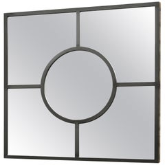 Art Deco Inspired Bacco Mirror Squared in Pitch Black in Steel Powder Coated