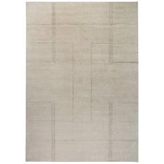 Art Deco Inspired Beige and Black Handmade Wool Rug