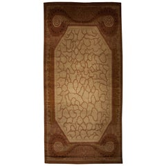 Art Deco Inspired Beige and Brown Handwoven Wool Emile Jacques Ruhlmann Rug