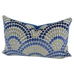 Art Deco Inspired Blue and Green Velvet Throw Pillow