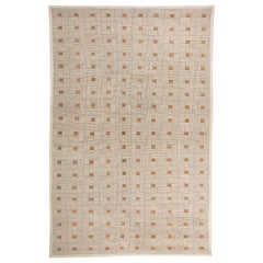 Art Deco Inspired Box Design Brown, Off-White and Ochre Handmade Wool Rug