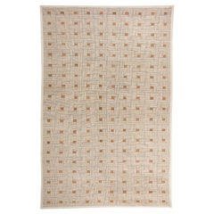 Art Deco Inspired Box Design Handmade Wool Rug in Brown, White and Ochre