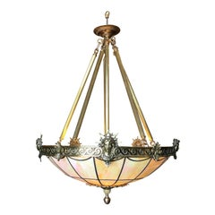 """Art Deco Inspired Bronze """"Liberty"""" Stained Glass Chandelier"""
