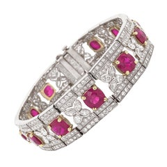 Art Deco Inspired Burmese Cushion Cut Rubies 14.11 Carat Platinum Bracelet