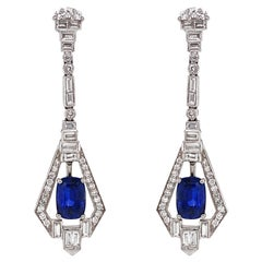 Art Deco Inspired Ceylon Oval Cut Sapphire 5.89 Carat Diamond Platinum Earrings