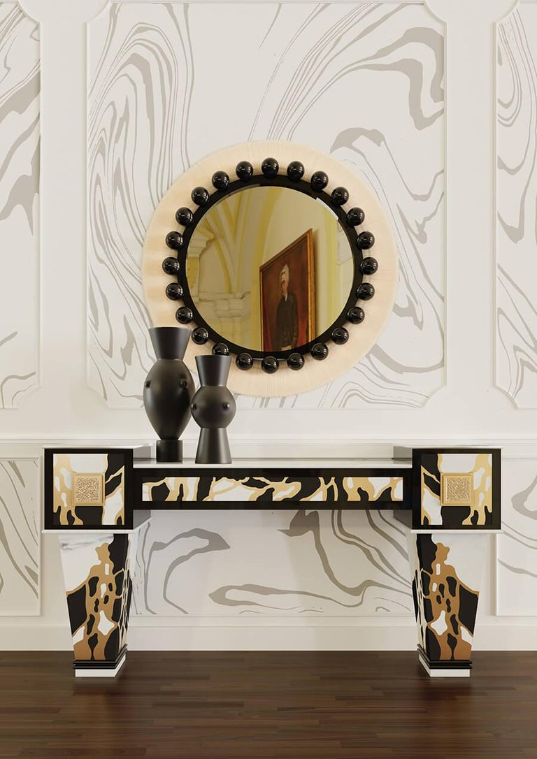 Art Decoinspired Hollywood Regency console table in estremoz marble & negro Marquina marble charlot console table  Charlot console table is a tribute to the art deco furniture design style. With multiple customization options, this luxury entrance