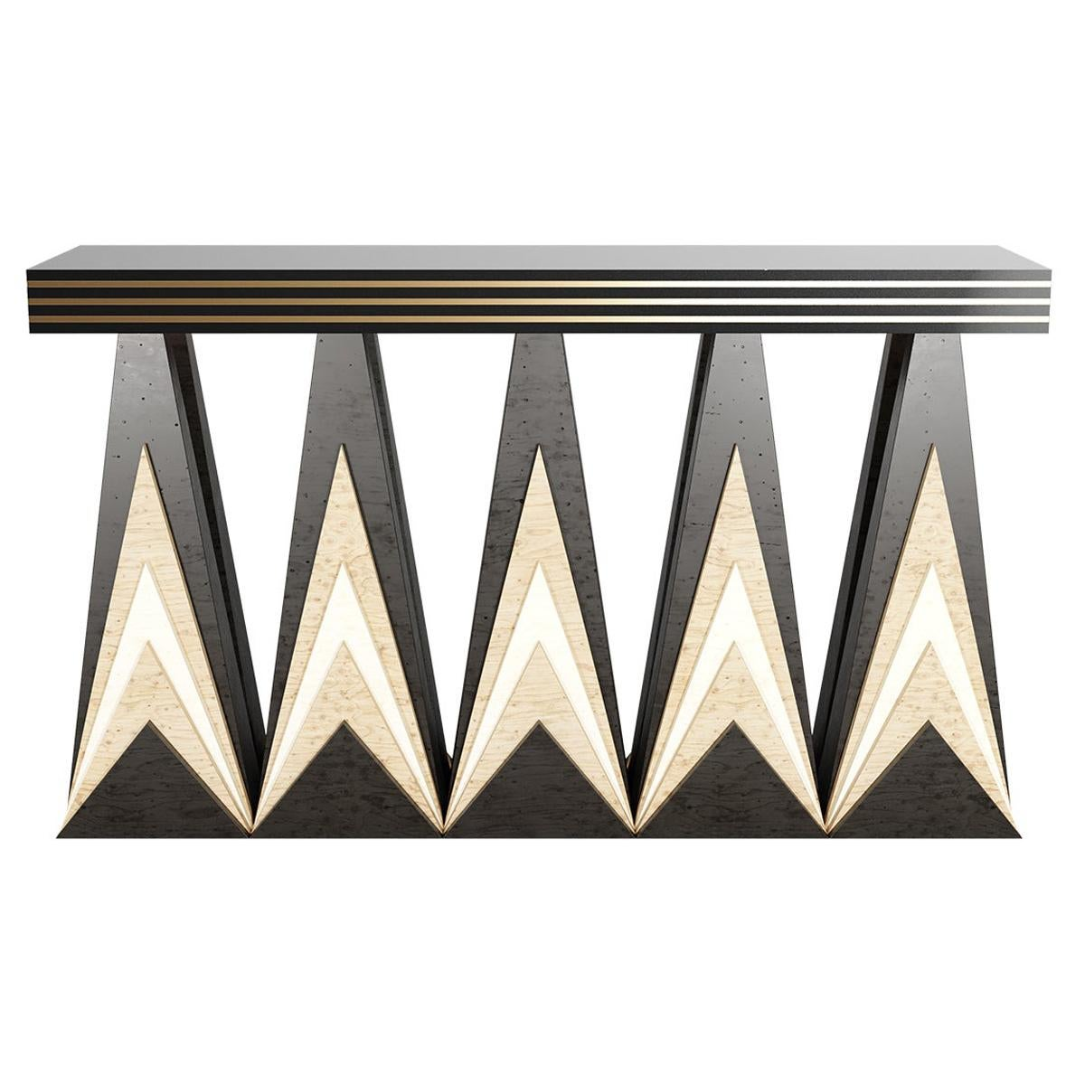 Art Deco Inspired Console Table in Wood & Gold Stainless Steel Details
