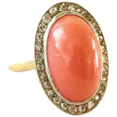 Art Deco Inspired Coral Diamond 18 Karat Gold Cluster Ring