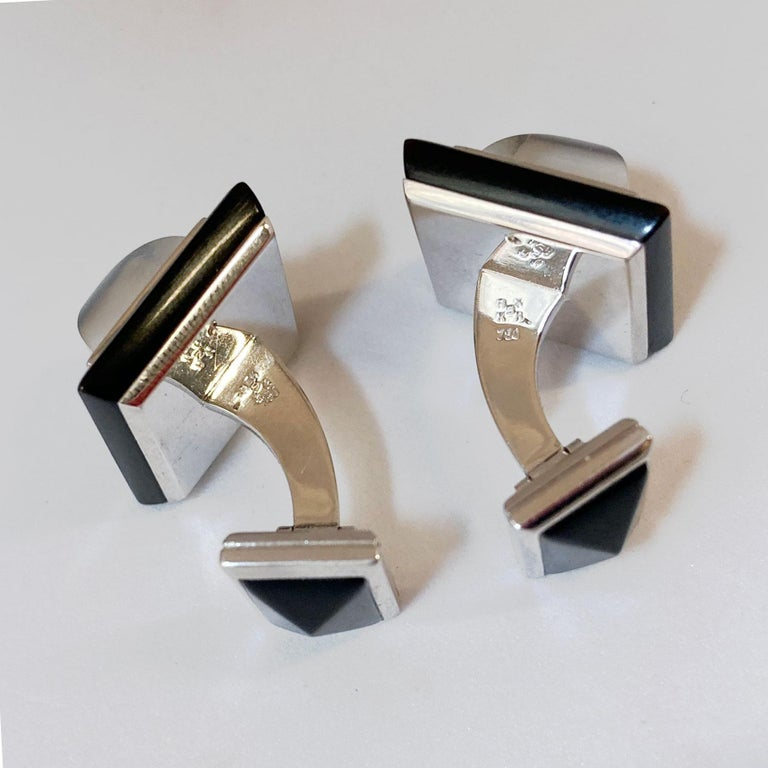 Contemporary Art Deco Style Moonstone Pyramids and Horn Cufflinks in 18 Karat White Gold For Sale