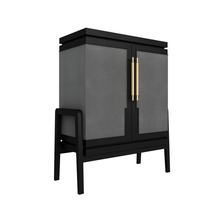 The Roman God of desire, love and affection, the Cupid Collection embraces luxurious textures and seductive design. Possessing the unique structural lines and Art-Deco-inspired legs that run throughout the collection, the Cupid Cabinet has a strong