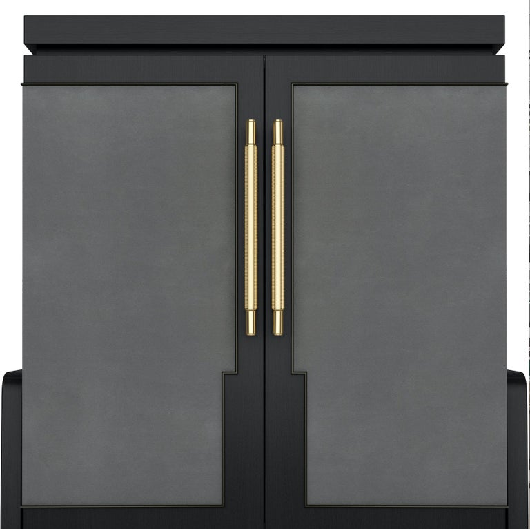Art Deco Inspired Cupid Cabinet in Show-wood and Upholstered & Novasuede For Sale 1