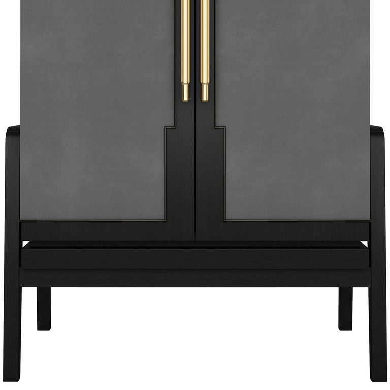 Art Deco Inspired Cupid Cabinet in Show-wood and Upholstered & Novasuede For Sale 2