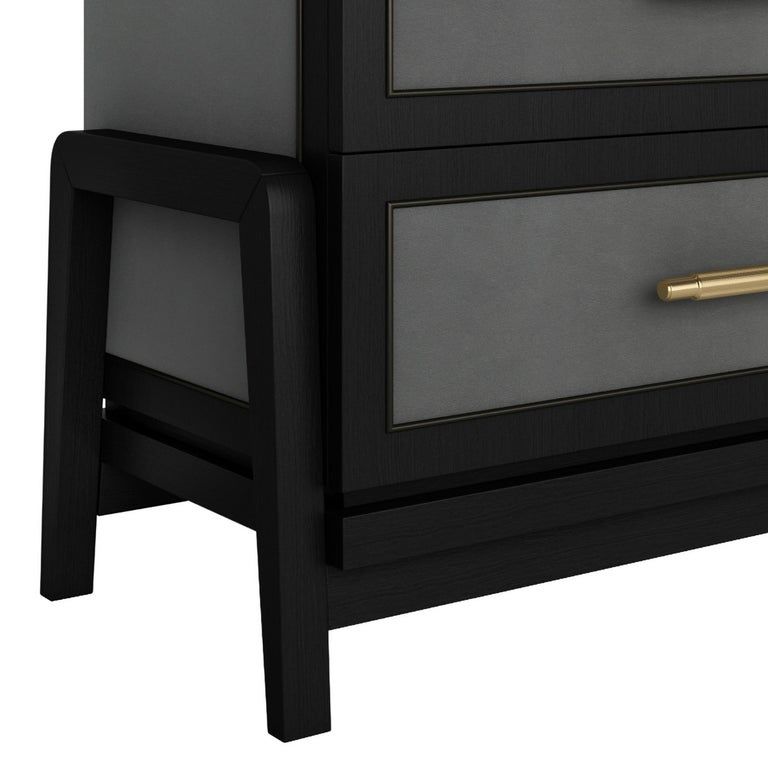 Contemporary Art Deco Inspired Cupid Chest of Drawers Show-wood and Upholstered & Novasuede For Sale