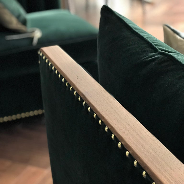 British Art Deco Inspired Cupid Corner Chair in Natural Walnut and Luxe Velvet For Sale
