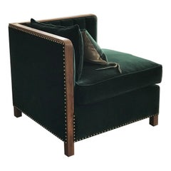 Art Deco Inspired Cupid Corner Chair in Natural Walnut and Luxe Velvet