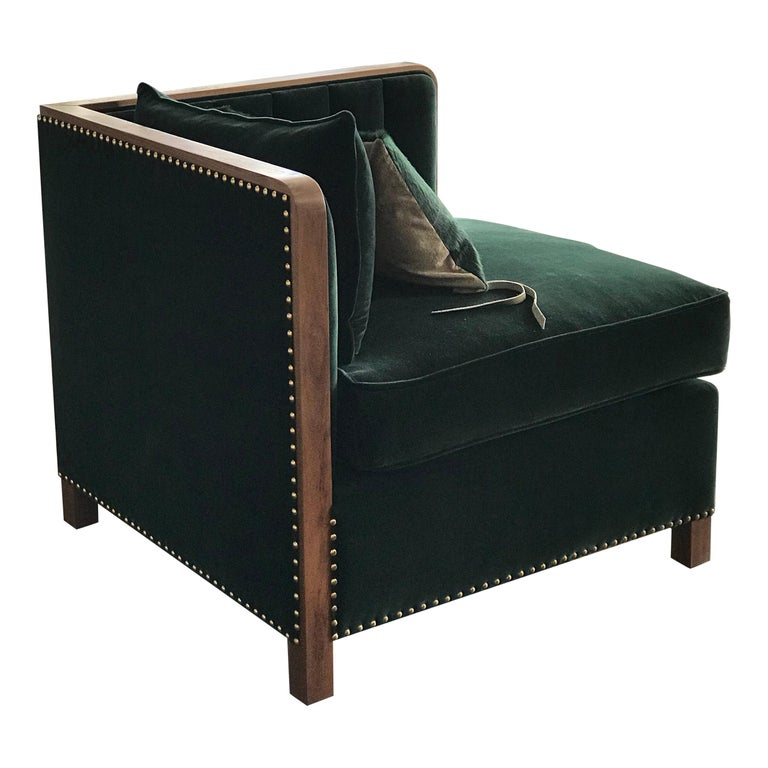 Art Deco Inspired Cupid Corner Chair in Natural Walnut and Luxe Velvet For Sale