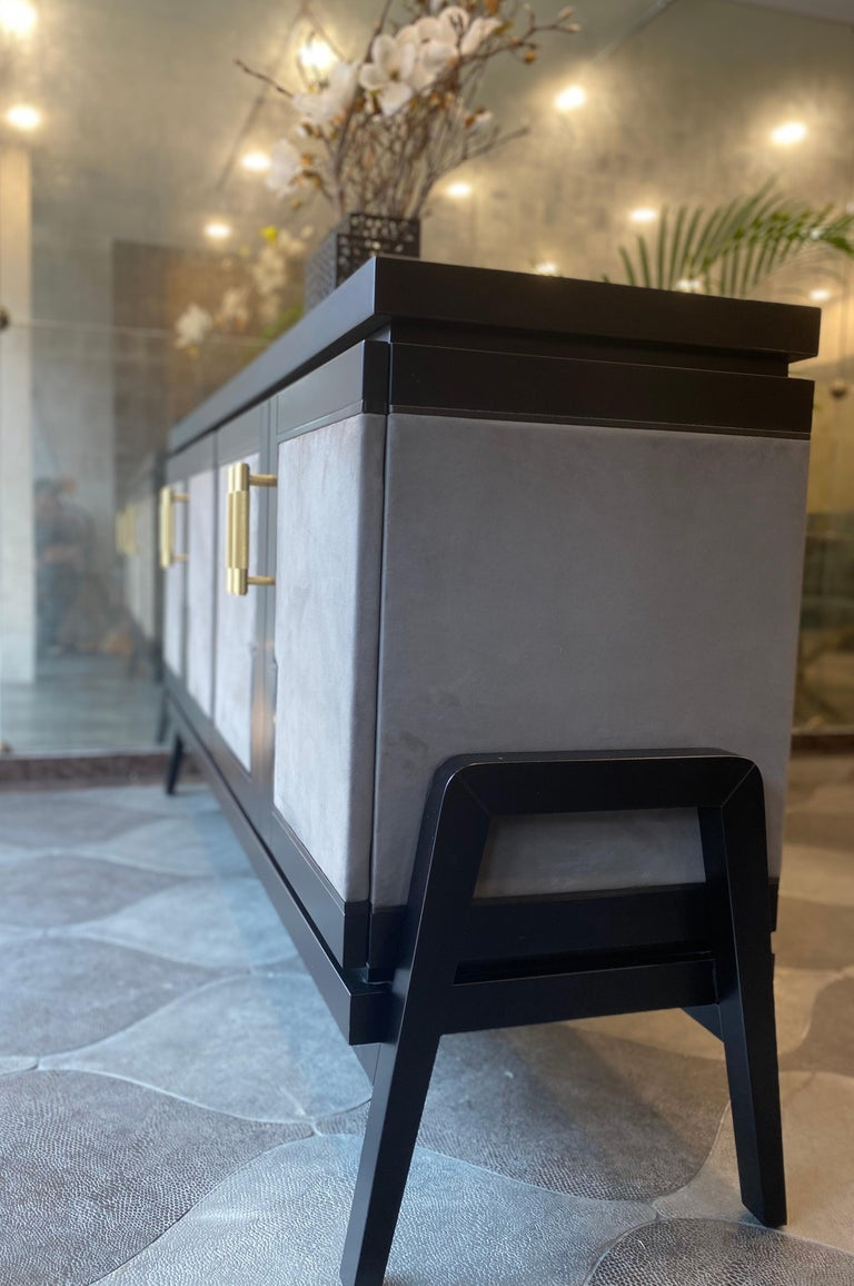 British Art Deco Inspired Cupid Credenza in Show-wood and Upholstered with Novasuede For Sale