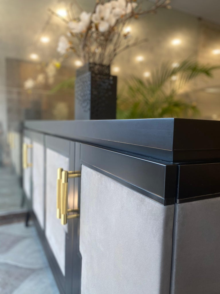 Art Deco Inspired Cupid Credenza in Show-wood and Upholstered with Novasuede For Sale 1