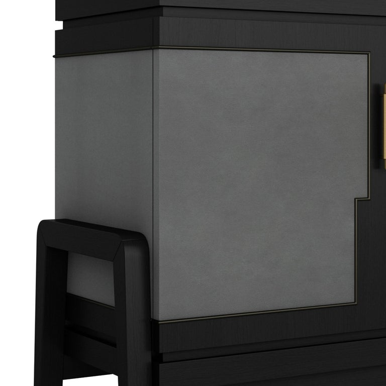 Art Deco Inspired Cupid Credenza in Show-wood and Upholstered with Novasuede In New Condition For Sale In London, GB