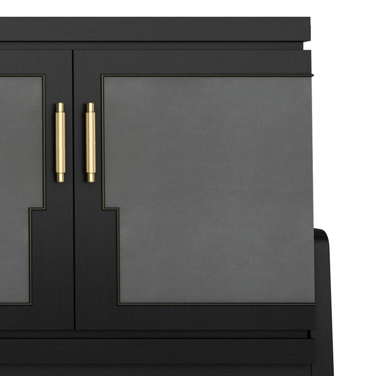 Contemporary Art Deco Inspired Cupid Credenza in Show-wood and Upholstered with Novasuede For Sale