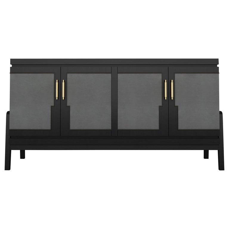 Art Deco Inspired Cupid Credenza in Show-wood and Upholstered with Novasuede For Sale