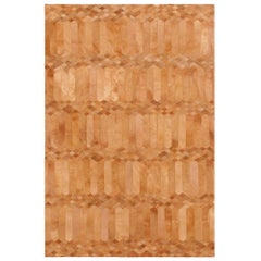 Art Deco Inspired Customizable Largo Cognac Cowhide Area Floor Rug Small
