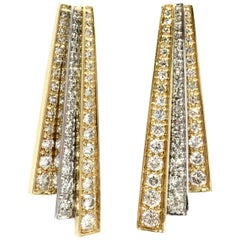 Art Deco Inspired Diamond 18 Karat Two-Tone Drop Earrings