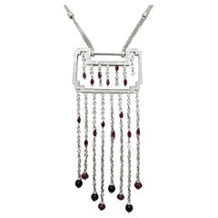 Art Deco Inspired Diamond 2.20 Carat and Ruby 1.10 Carat Necklace