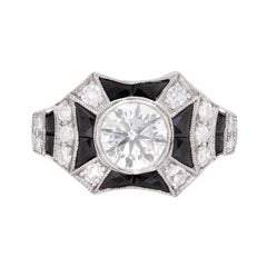 Art Deco Inspired Diamond and Onyx Ring, circa 1940s