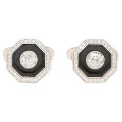 Art Deco Inspired Diamond and Onyx Target Cufflinks Set in Platinum