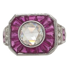 Art Deco Inspired Diamond and Ruby Ring 18 Karat White Gold