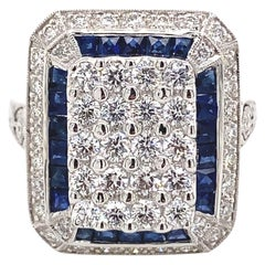 Art Deco Inspired Diamond and Sapphire Ring 18 Karat White Gold