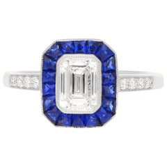 Art Deco Inspired Diamond and Sapphire Target Engagement Ring Set in Platinum