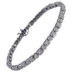 Diamond Art Deco Inspired Bracelet 1.32 Carat in 14 Karat White Gold