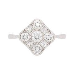 Art Deco-Inspired Diamond Cluster Ring, circa 1950s