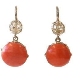 Art Deco Inspired Diamond Coral Platinum Dangle Earrings