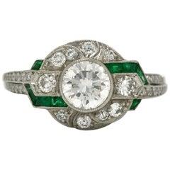 Art Deco Inspired Diamond Engagement Ring Emerald Accents Geometric Platinum